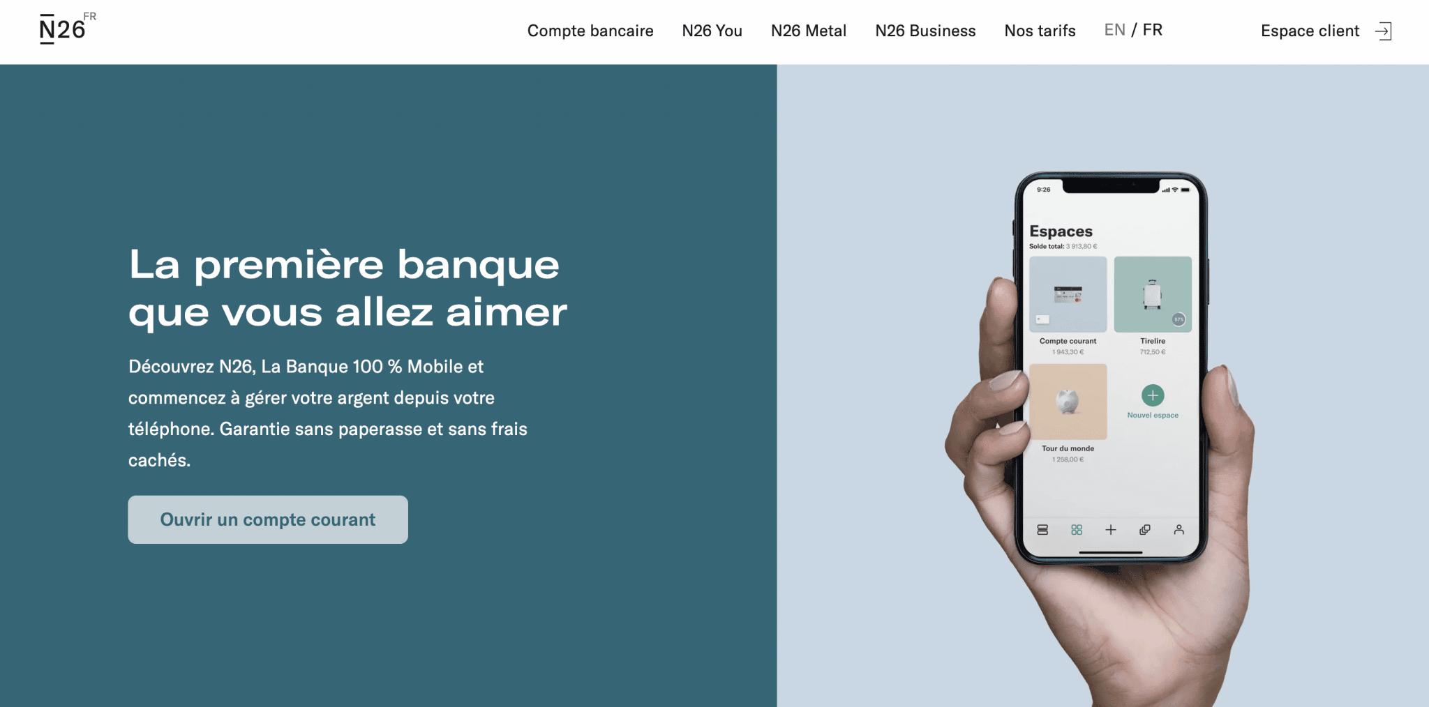 La banque en ligne et mobile N26