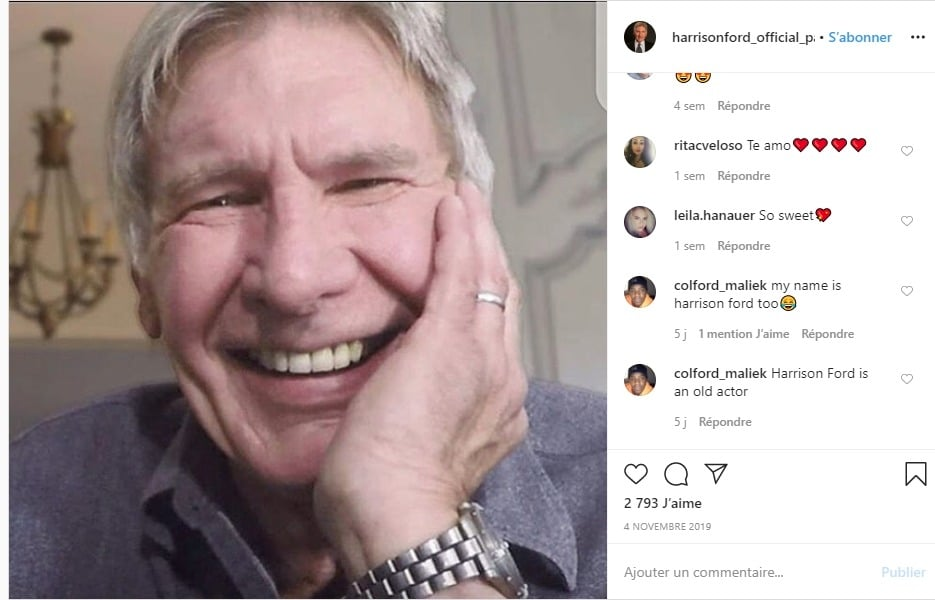 Harrison Ford sur Instagram