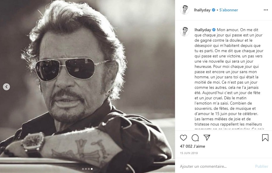 Laeticia Hallyday poste une photo de Johnny