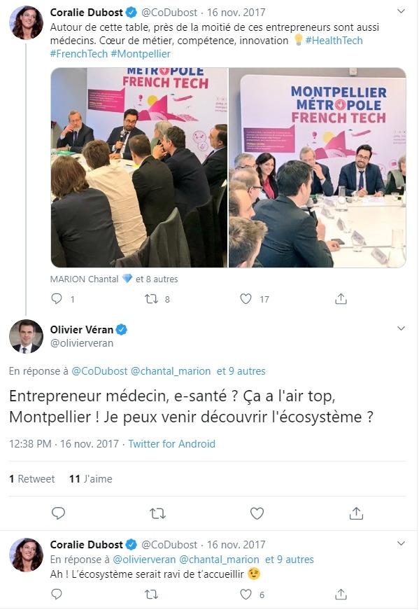 Olivier Véran et Coralie Dubost sur Twitter
