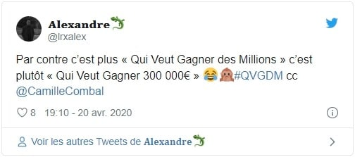 Tweet Qui veut gagner des millions
