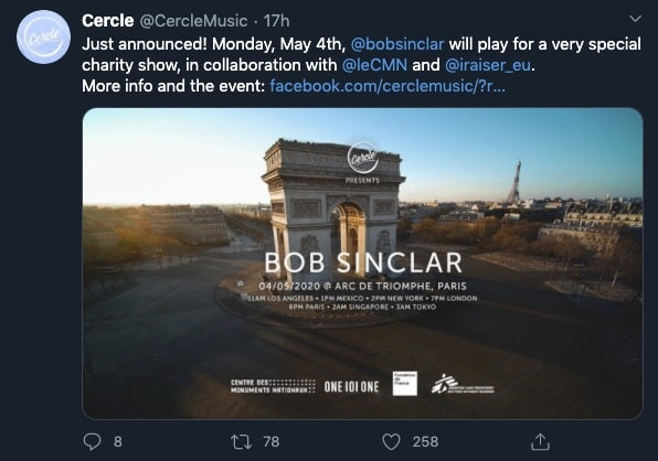 Bob Sinclar en haut de l'Arc de Triomphe le 4 mai 2020 !