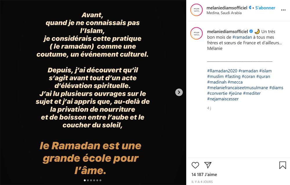 Diam's : son message Instagram pour le ramadan