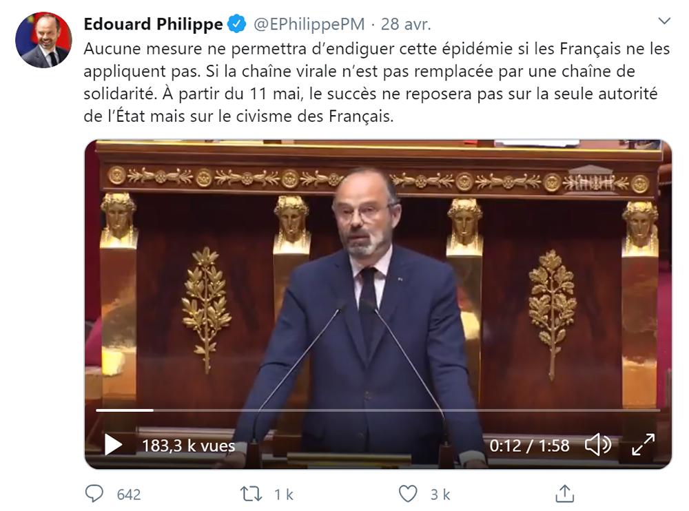 Edouard Philippe est actif sur Twitter et parle du déconfinement