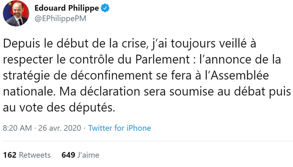 Edouard Philippe s'exprime sur Twitter au sujet du plan de déconfinement