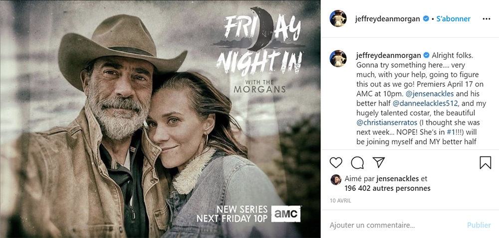Jeffrey Dean Morgan et sa nouvelle série : Friday Night In with the Morgans