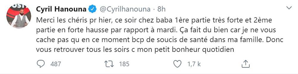 Cyril Hanouna remercie ses fans sur Twitter