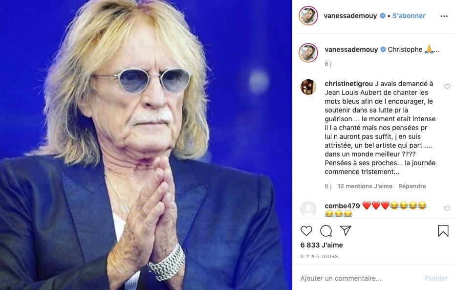Vanessa Demouy rend hommage à Christophe