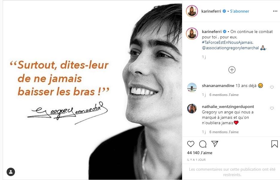 Karine Ferri sur instagram