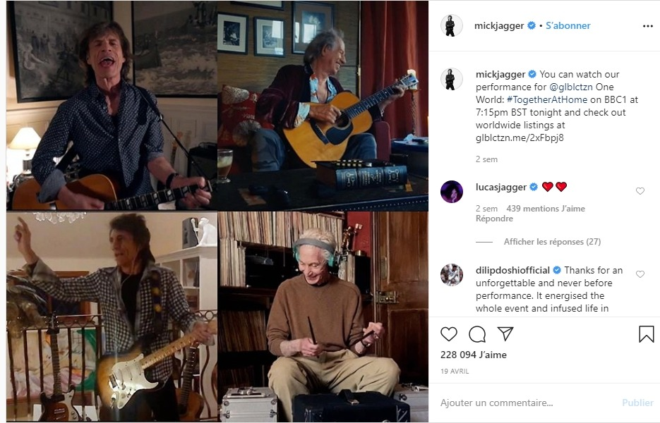 Mick Jagger en concert virtuel