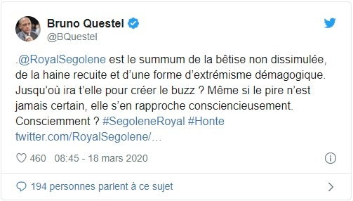 Tweet de Bruno Questel sur Ségolène Royal