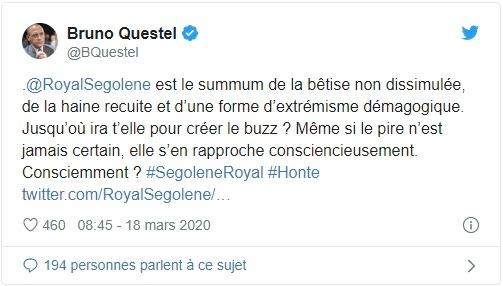 Tweet de Bruno Questel sur Ségolène Royal