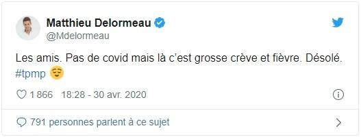 Tweet de Mathieu Delormeau