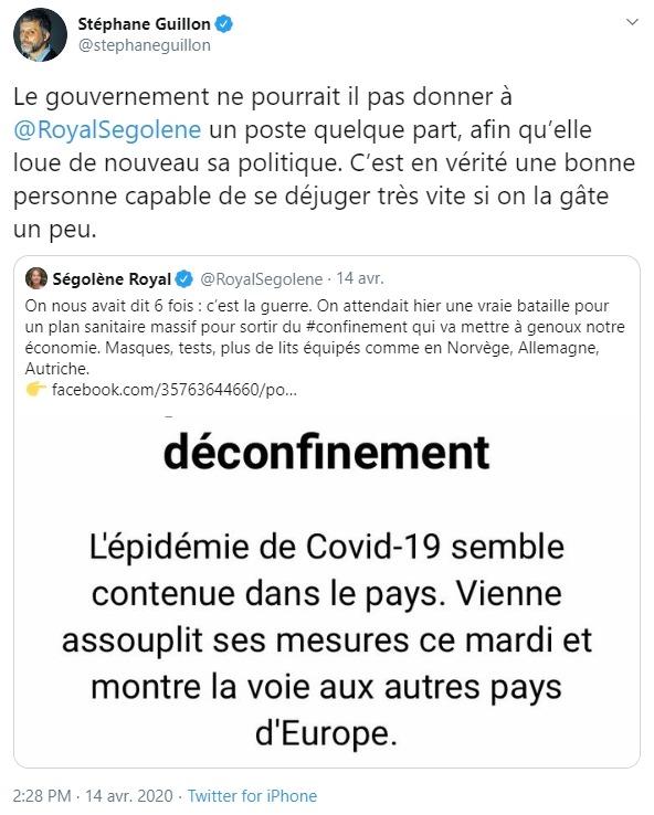 Tweet de Stéphane Guillon sur Ségolène Royal
