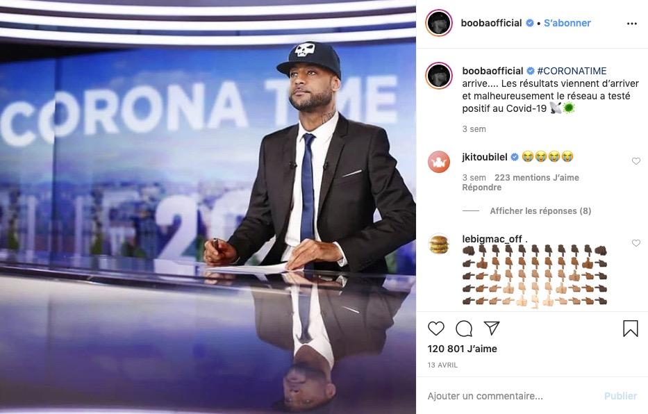 Booba présente le Coronatime sur Instagram