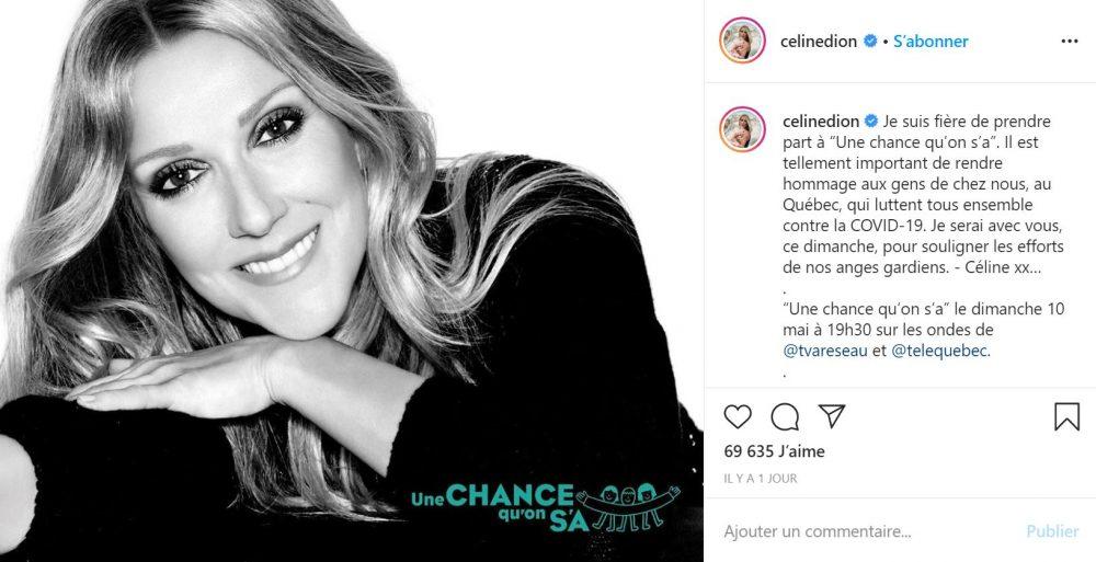 Céline Dion Participe à une soirée de lutte contre le coronavirus
