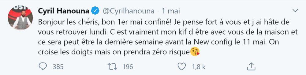 Cyril Hanouna annonce une reprise potentielle de TPMP sur Twitter