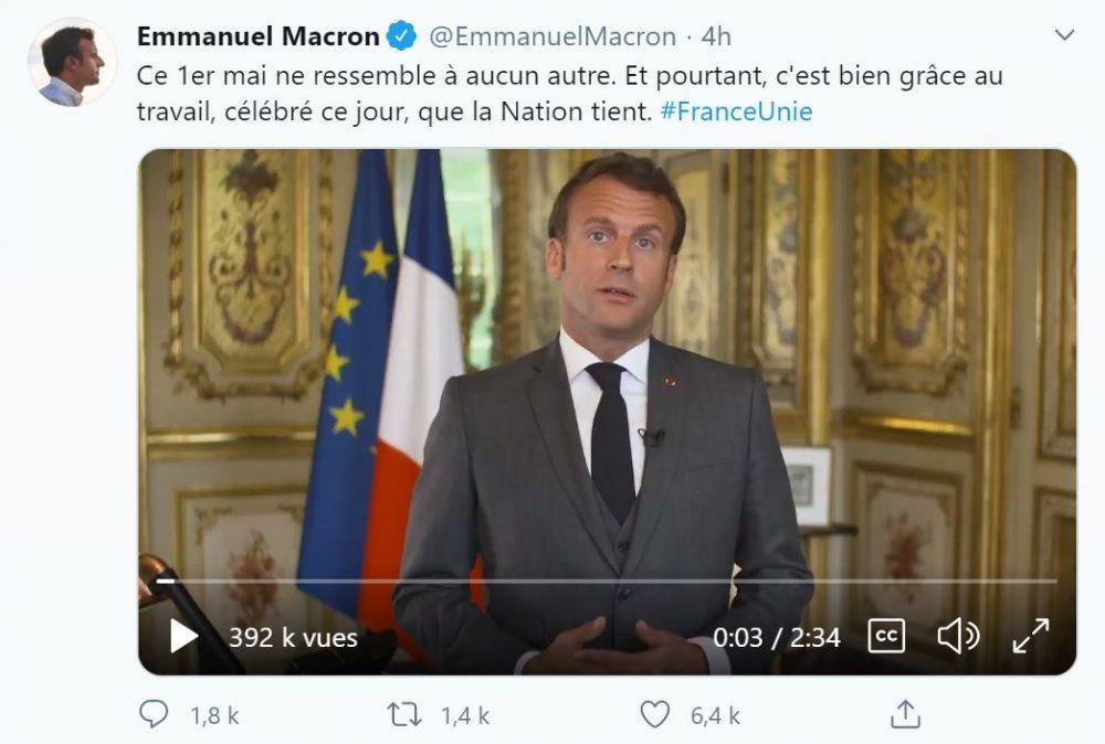 Le discours pour le 1er mai d'Emmanuel Macron publié sur Twitter