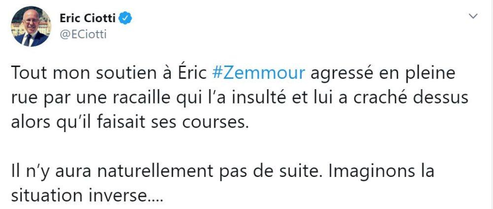 Eric Ciotti soutient Eric Zemmour après son agression