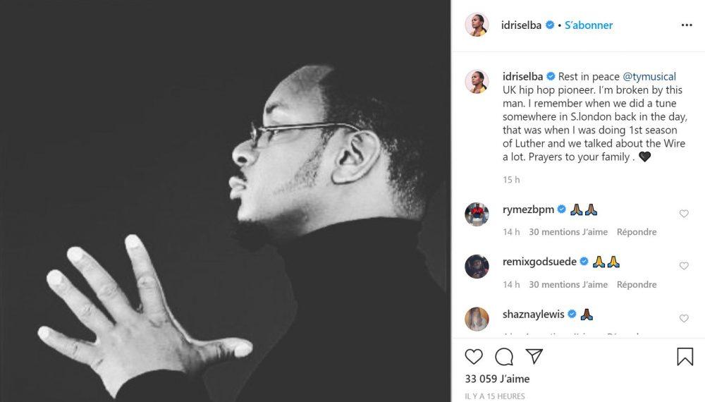 Idris Elba rend hommage au rappeur Ty