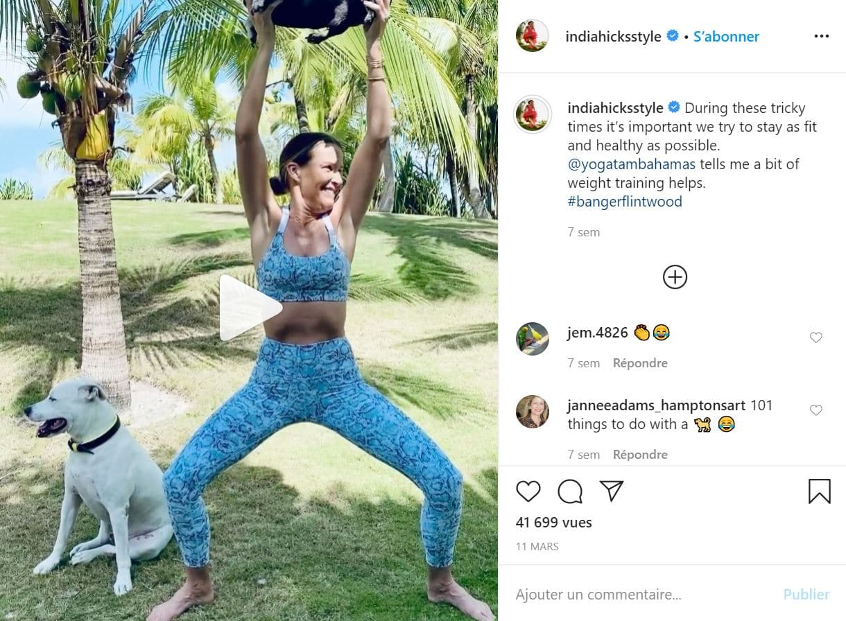 India Hicks fait beaucoup de sport et de Yoga
