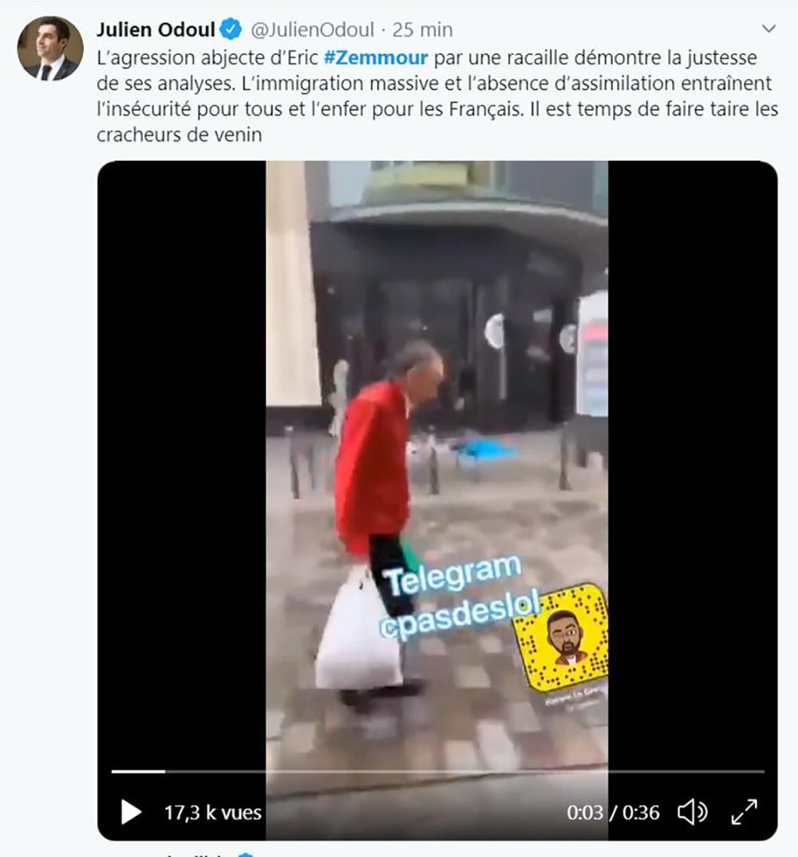 Julien Odoul dénonce l'agression d'Eric Zemmour et l'immigration massive