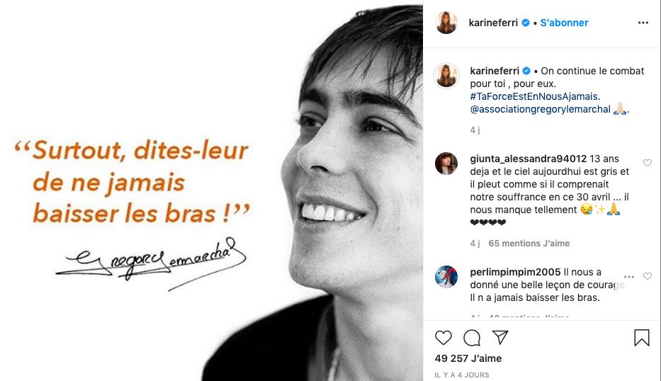 L'hommage de Karine Ferri à Grégory Lemarchal