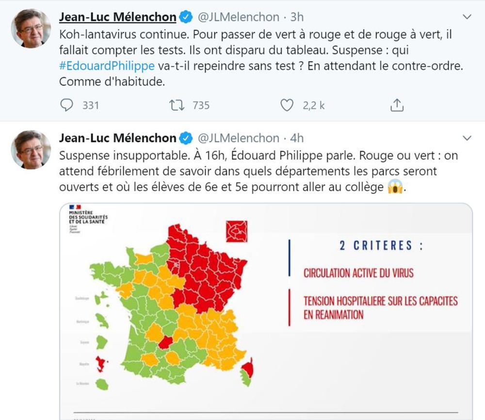 Les tweets ravageurs de Jean-Luc Mélenchon