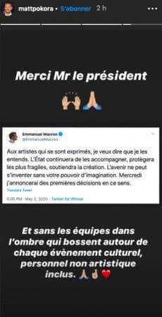 Matt Pokora remercie Emmanuel Macron sur Instagram