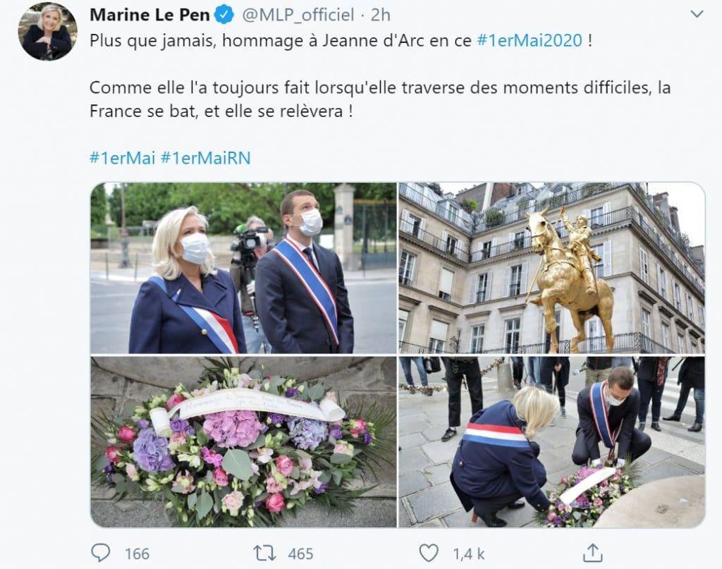 Marine Le Pen twitte pour souhaiter un bon 1er Mai aux français