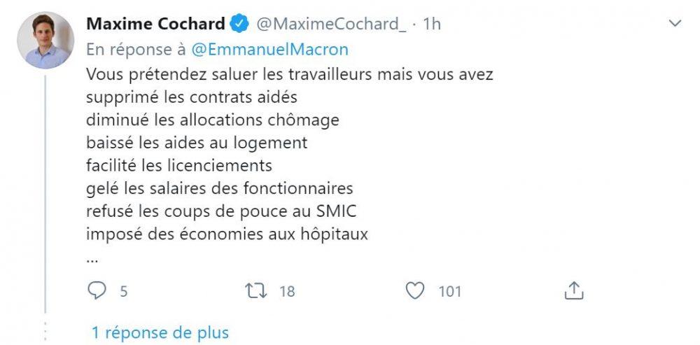 Un abonné se révolte contre Emmanuel Macron sur Twitter