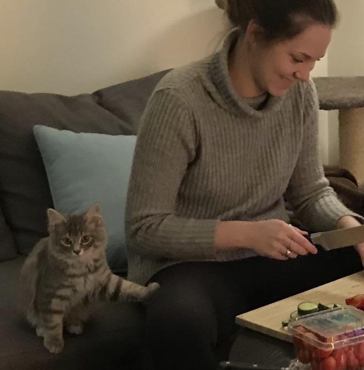 Un chaton et sa maîtresse