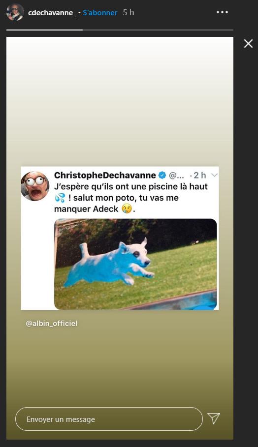 Christophe Dechavanne fait un hommage à son chien Adeck