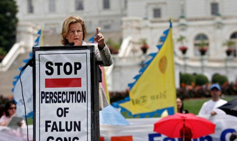 Protestation contre la persécution des Falun Gong
